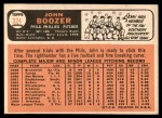 1966 Topps #324  John Boozer  Back Thumbnail