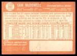 1964 Topps #391  Sam McDowell  Back Thumbnail