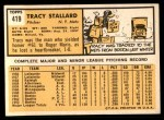 1963 Topps #419  Tracy Stallard  Back Thumbnail