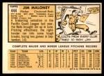 1963 Topps #444  Jim Maloney  Back Thumbnail