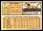 1963 Topps #493  Walt Bond  Back Thumbnail
