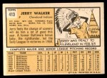 1963 Topps #413 RED Jerry Walker  Back Thumbnail