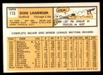 1963 Topps #113   -  Don Landrum / Ron Santo Don Landrum's Card with Ron Santo's Picture Back Thumbnail