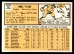 1963 Topps #293  Bill Pleis  Back Thumbnail