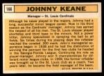 1963 Topps #166  Johnny Keane  Back Thumbnail