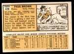 1963 Topps #478  Paul Brown  Back Thumbnail