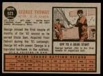 1962 Topps #525  George Thomas  Back Thumbnail