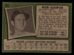 1971 Topps #383  Rod Gaspar  Back Thumbnail