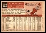 1959 Topps #522  Gene Snyder  Back Thumbnail