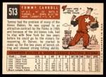 1959 Topps #513  Tom Carroll  Back Thumbnail