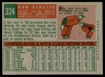 1959 Topps #324  Don Demeter  Back Thumbnail