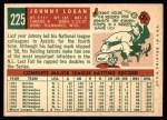 1959 Topps #225  Johnny Logan  Back Thumbnail