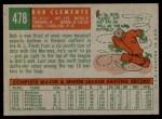 1959 Topps #478  Roberto Clemente  Back Thumbnail