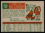 1959 Topps #132  Don Lee  Back Thumbnail