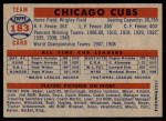 1957 Topps #183   Cubs Team Back Thumbnail