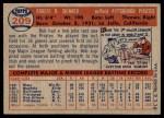 1957 Topps #209  Bob Skinner  Back Thumbnail