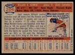 1957 Topps #206  Willard Schmidt  Back Thumbnail