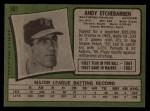 1971 Topps #501  Andy Etchebarren  Back Thumbnail