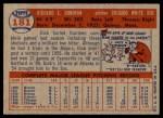 1957 Topps #181  Dick Donovan  Back Thumbnail