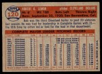 1957 Topps #120  Bob Lemon  Back Thumbnail