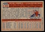 1957 Topps #135  Bill Skowron  Back Thumbnail