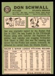 1967 Topps #267  Don Schwall  Back Thumbnail