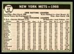 1967 Topps #42   Mets Team Back Thumbnail