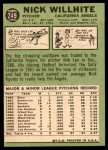 1967 Topps #249  Nick Willhite  Back Thumbnail