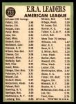 1967 Topps #233   -  Steve Hargan / Joel Horlen / Gary Peters AL ERA Leaders Back Thumbnail