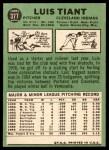 1967 Topps #377  Luis Tiant  Back Thumbnail