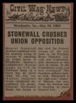 1962 Topps Civil War News #19   Pushed to his Doom Back Thumbnail