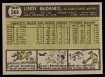 1961 Topps #266  Lindy McDaniel  Back Thumbnail