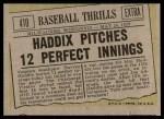 1961 Topps #410   -  Harvey Haddix Baseball Thrills Back Thumbnail