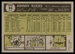 1961 Topps #94  Johnny Kucks  Back Thumbnail