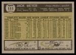 1961 Topps #111  Jack Meyer  Back Thumbnail