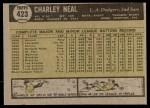 1961 Topps #423  Charlie Neal  Back Thumbnail
