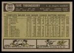 1961 Topps #282  Faye Throneberry  Back Thumbnail
