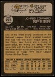 1973 Topps #273  Chris Speier  Back Thumbnail