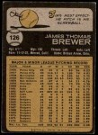 1973 Topps #126  Jim Brewer  Back Thumbnail