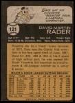1973 Topps #121  Dave Rader  Back Thumbnail
