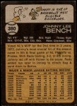 1973 Topps #380  Johnny Bench  Back Thumbnail