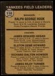 1973 Topps #116 ORG  -  Ralph Houk / Jim Hegan /  Elston Howard / Dick Howser / Jim Turner Yankees Leaders Back Thumbnail