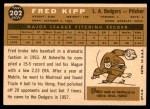 1960 Topps #202  Fred Kipp  Back Thumbnail