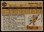 1960 Topps #176  Vada Pinson  Back Thumbnail