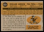 1960 Topps #366  Dallas Green  Back Thumbnail