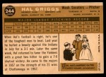 1960 Topps #244  Hal Griggs  Back Thumbnail