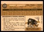 1960 Topps #238  Danny Kravitz  Back Thumbnail