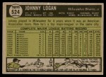 1961 Topps #524  Johnny Logan  Back Thumbnail