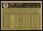 1961 Topps #90  Jerry Staley  Back Thumbnail