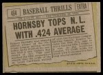 1961 Topps #404   -  Rogers Hornsby Baseball Thrills Back Thumbnail